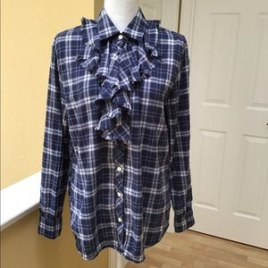 Banana Republic Plaid Ruffle Blouse
